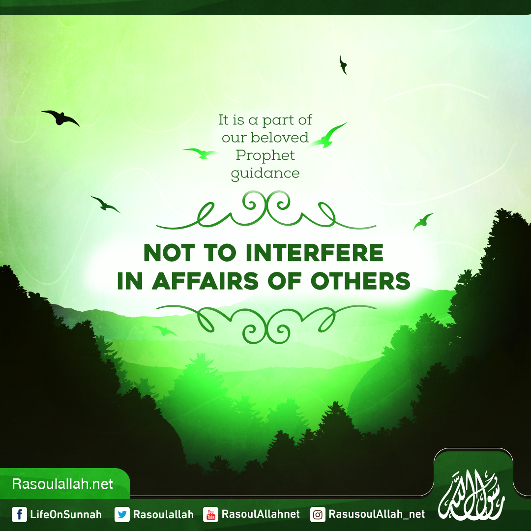 It is a part of our beloved Prophet guidance not to interfere in affairs of others
